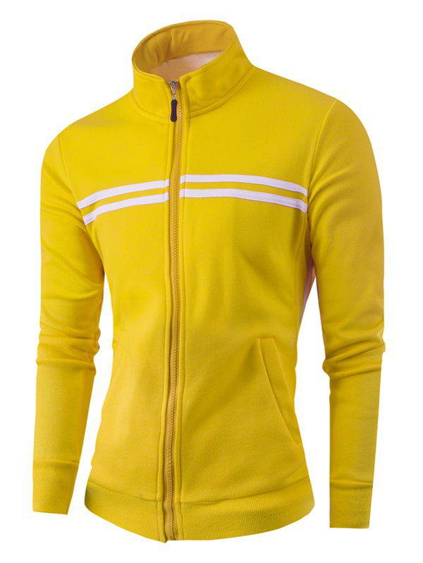 Striped Pattern Stand Collar Zipper-Up Jacket - YELLOW L