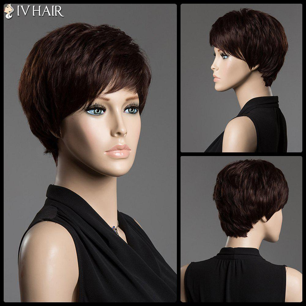 Spiffy Short Side Bang Siv Hair Capless Fluffy Straight Human Hair Wig - DARK BROWN