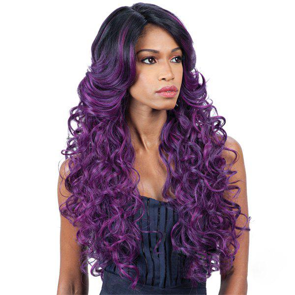 Double Color Long Wavy Side Parting Synthetic Wig - BLACK/PURPLE
