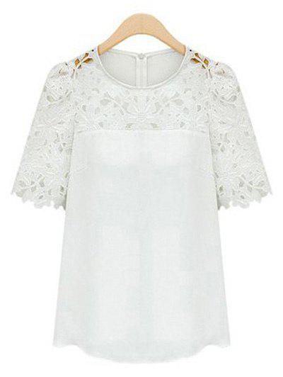 Guipure Lace Splicing Openwork Blouse - WHITE L