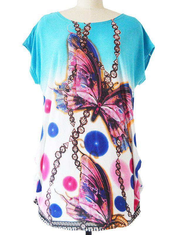 3D Butterfly Print Loose-Fitting Chain Pattern T-Shirt - WATER BLUE ONE SIZE