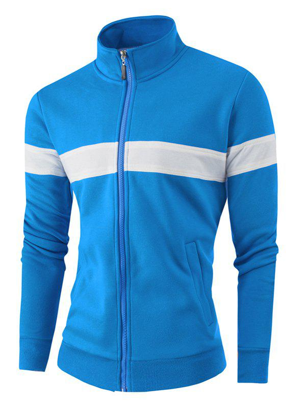 Stand Collar Color Block Zipper Up Jacket - BLUE 4XL
