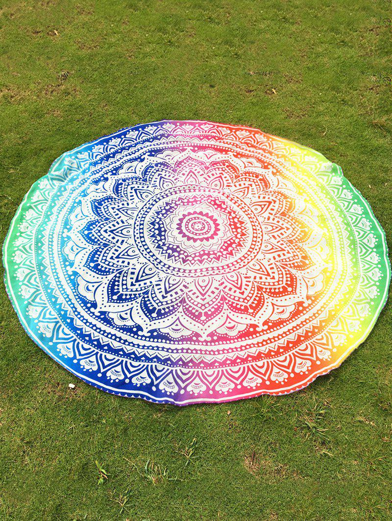 Indian Retro Style Bikini Boho Swimwear Colorful Mandala Lotus Flower Pattern Chiffon Round Beach Throw - COLORFUL ONE SIZE