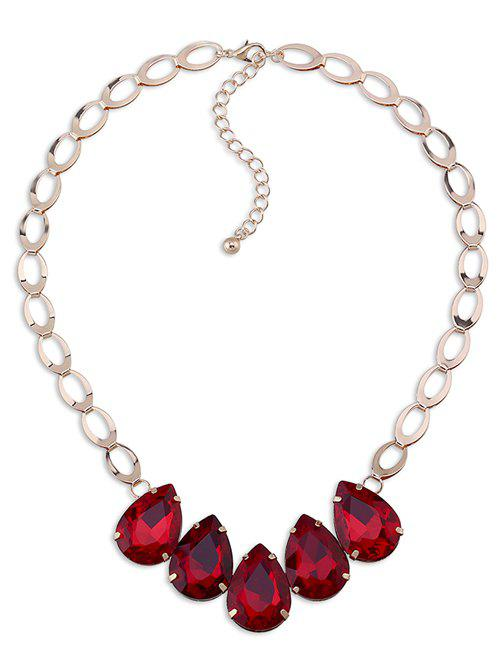 Faux Crystal Water Drop Adorn Necklace - RED