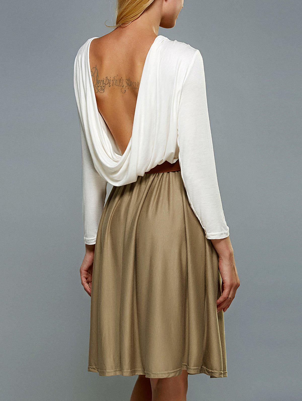 Robe Long Sleeve Backless A Line - Blanc S