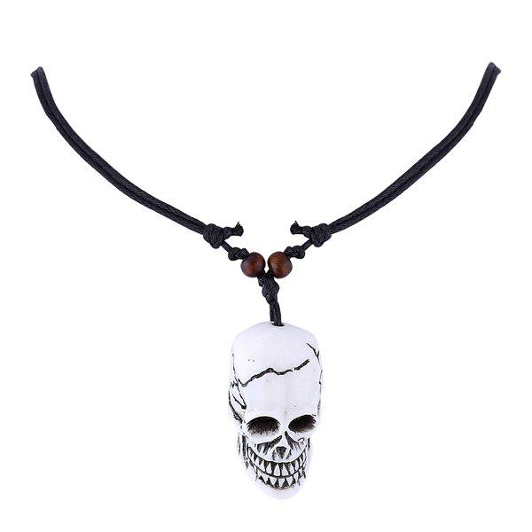 Adjustable Cord Resin Skull Pendant Necklace