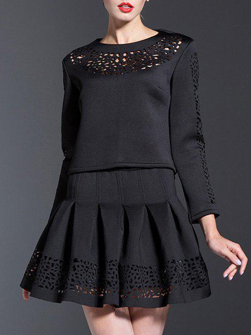 Openwork Blouse and Pleated A-Line Skirt Suit - BLACK M