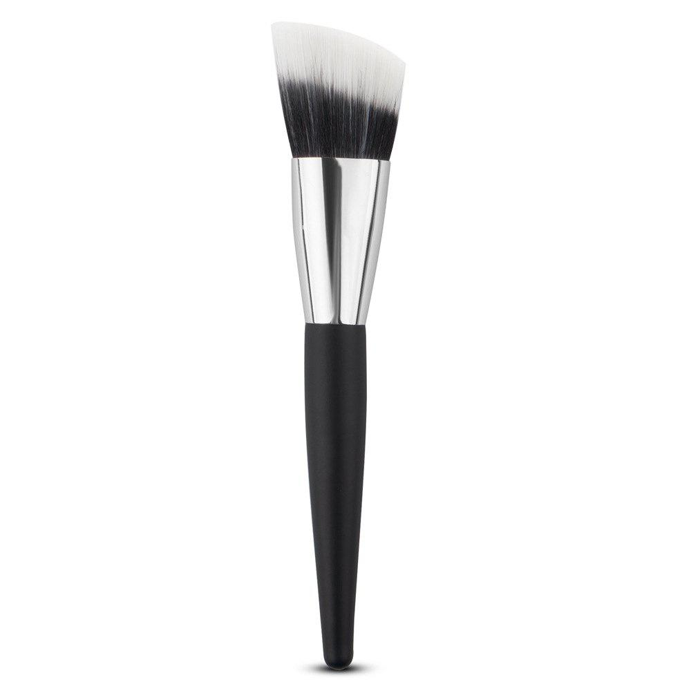 Wooden Handle Nylon Angled Foundation Brush - BLACK