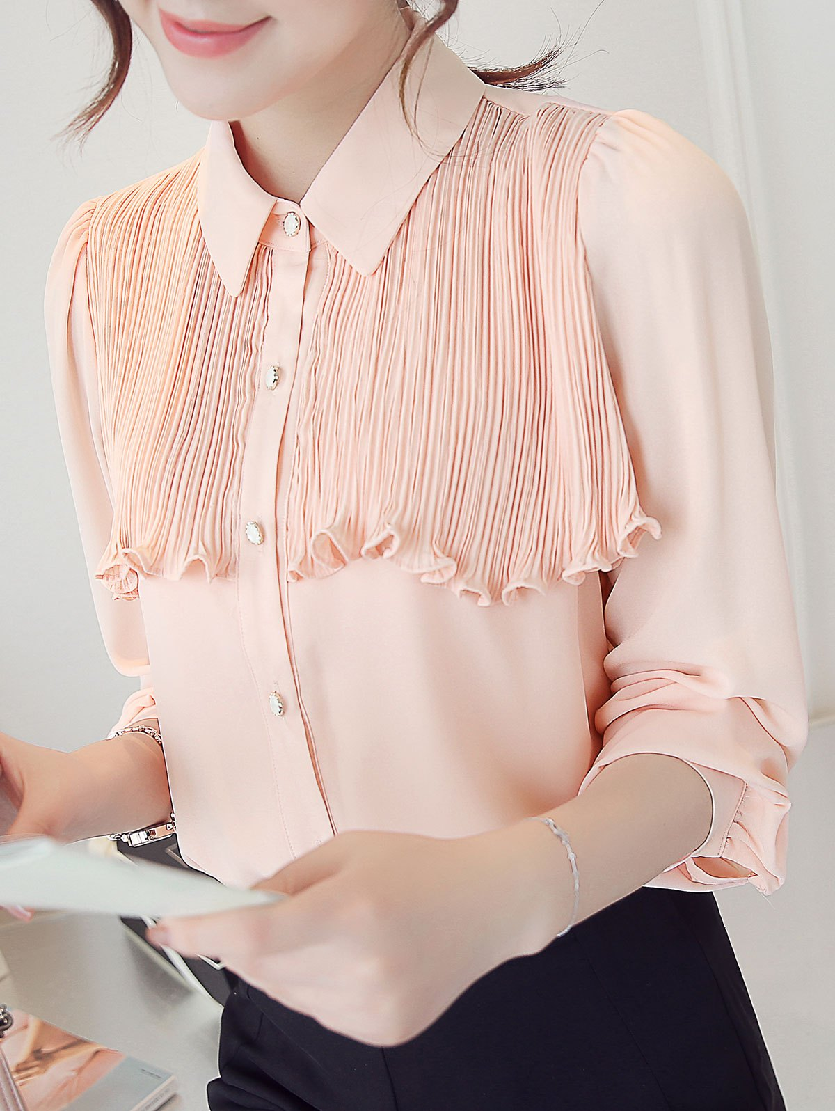 Flounced Pleated Long Sleeve Shirt - PINK L