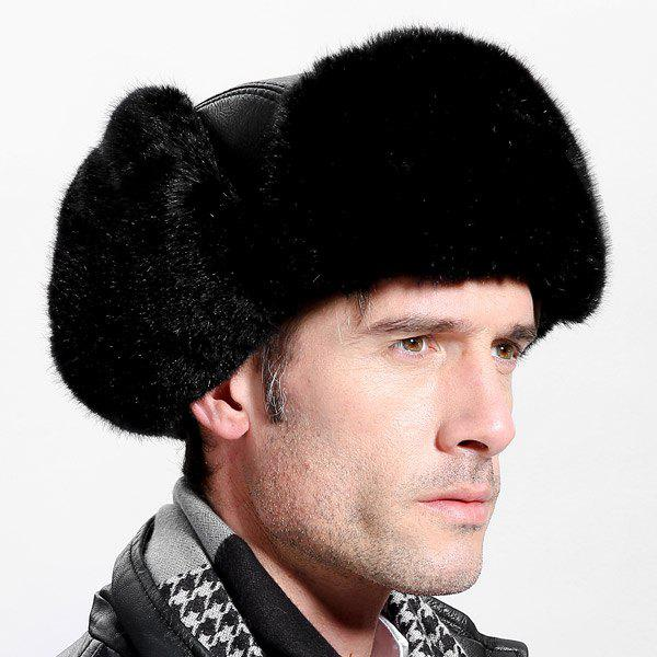 Winter Casual Faux Fur and Button Design Thicken Trapper Hat - BLACK