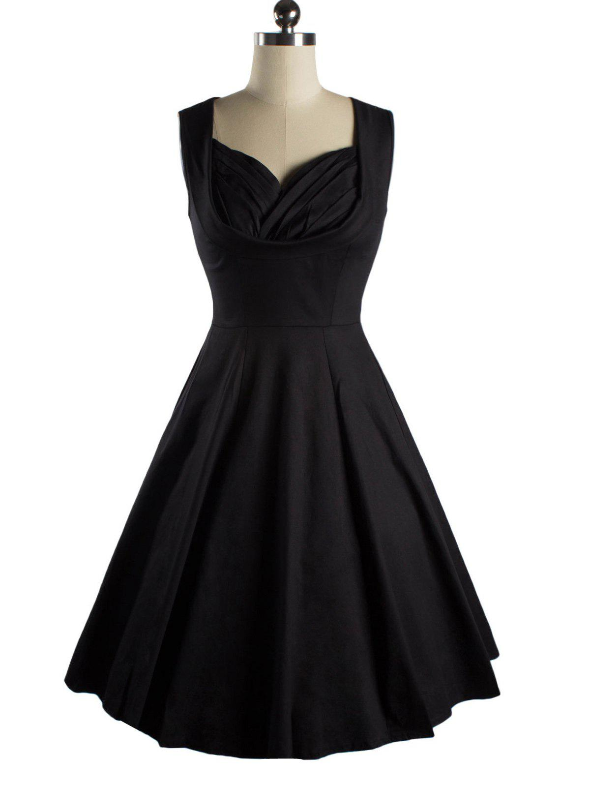 Sleeveless Sweetheart Neck Swing Dress - BLACK 2XL