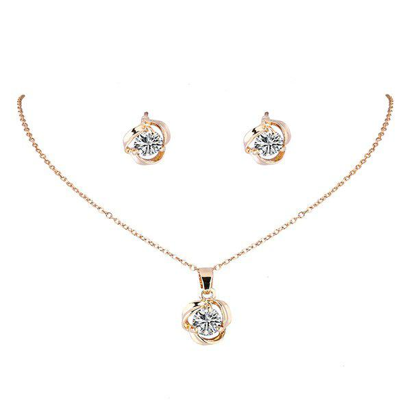 Filigree Rhinestone Floral Pendant Necklace Set -  PLATINUM