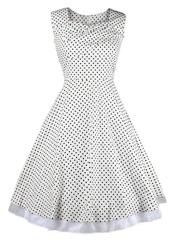 Vintage Style Polka Dot Swing Dress - WHITE/BLACK 3XL