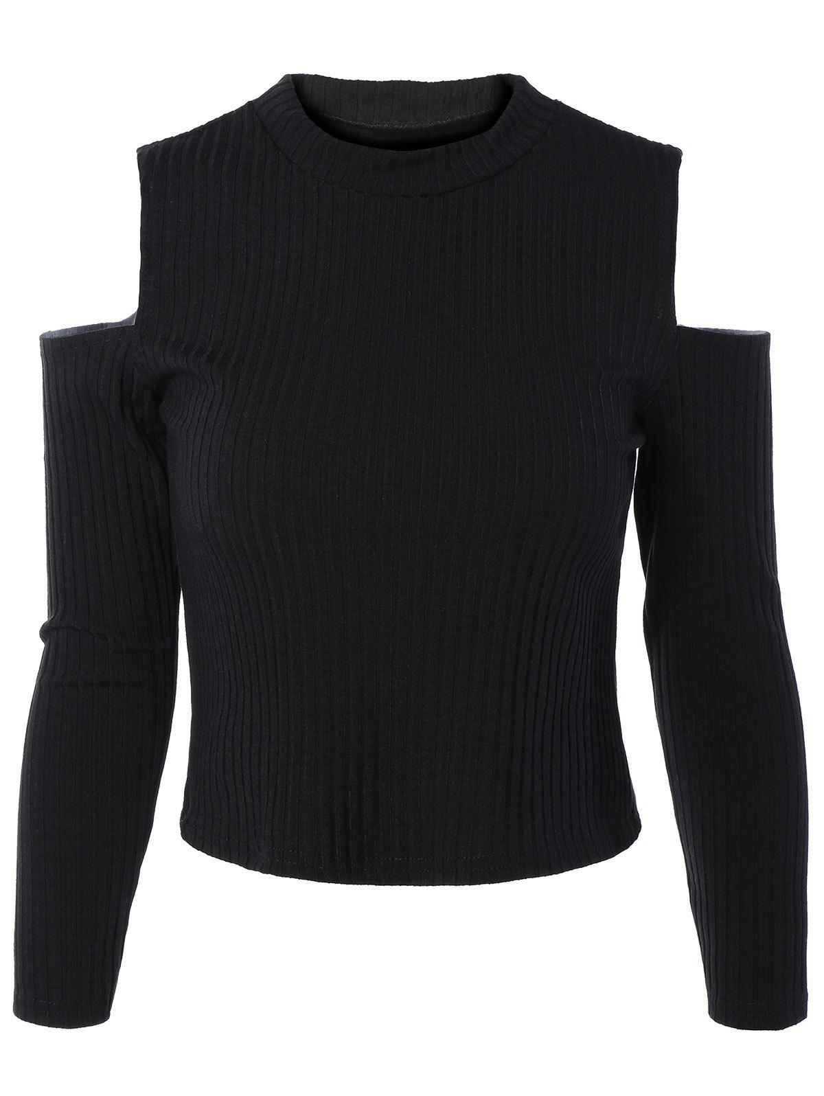 Cold Shoulder Long Sleeve Sweater - BLACK S