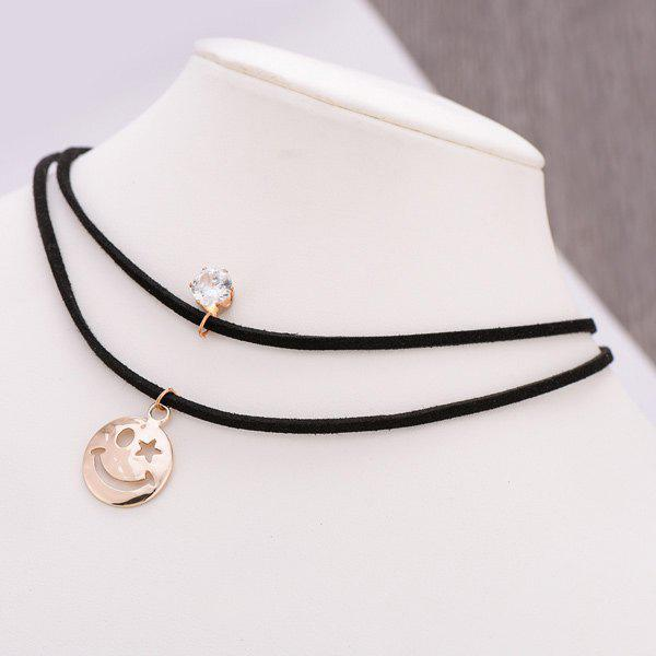 PU Leather Velvet Pentagram Smile Choker - GOLDEN