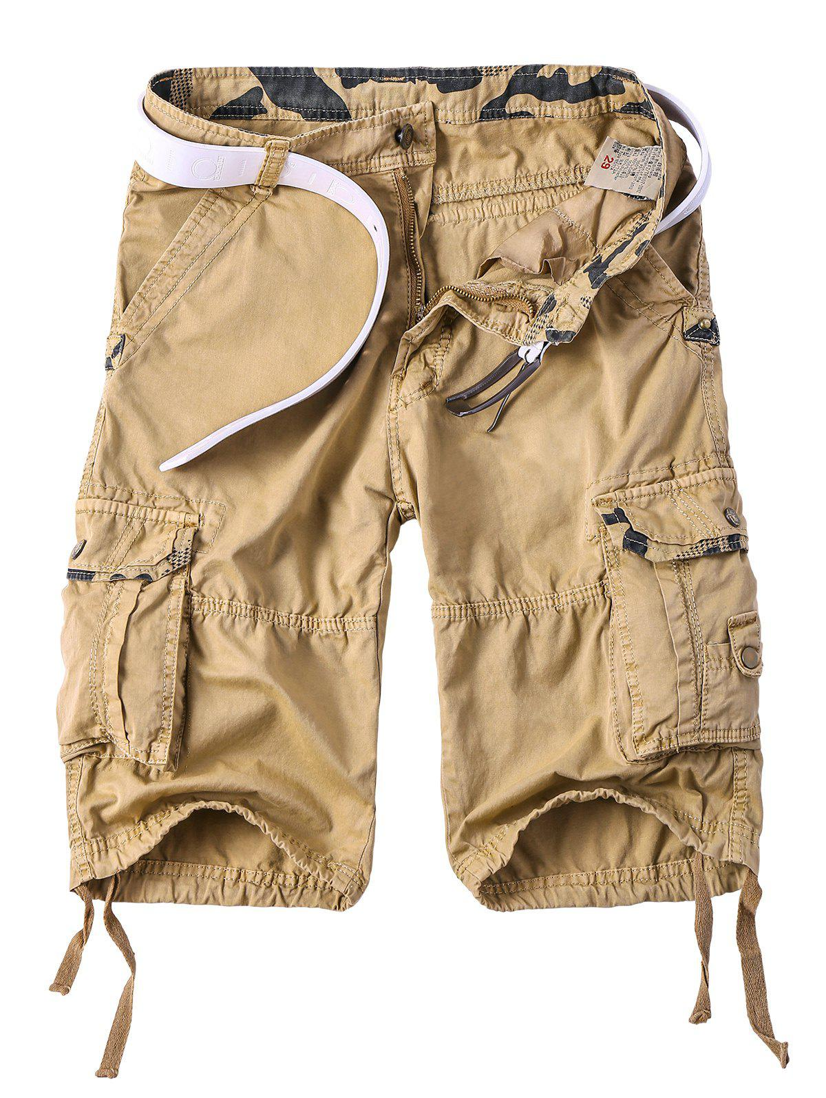 Men's Multi-Pocket Camo Spliced Straight Leg Zipper Fly Cargo Shorts - YELLOW 2XL