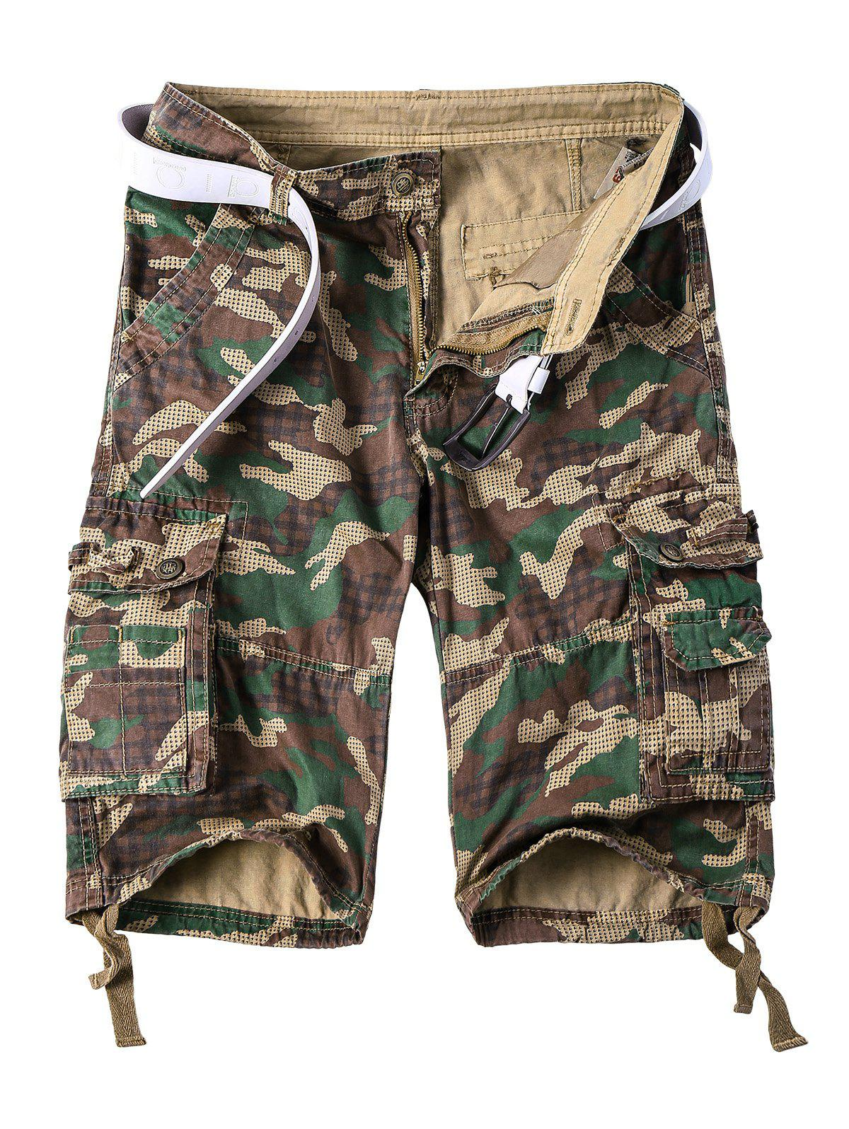 Straight Leg Multi-Pocket Lacing Hem Zipper Fly Men's Camo Cargo Shorts - CAMOUFLAGE 3XL