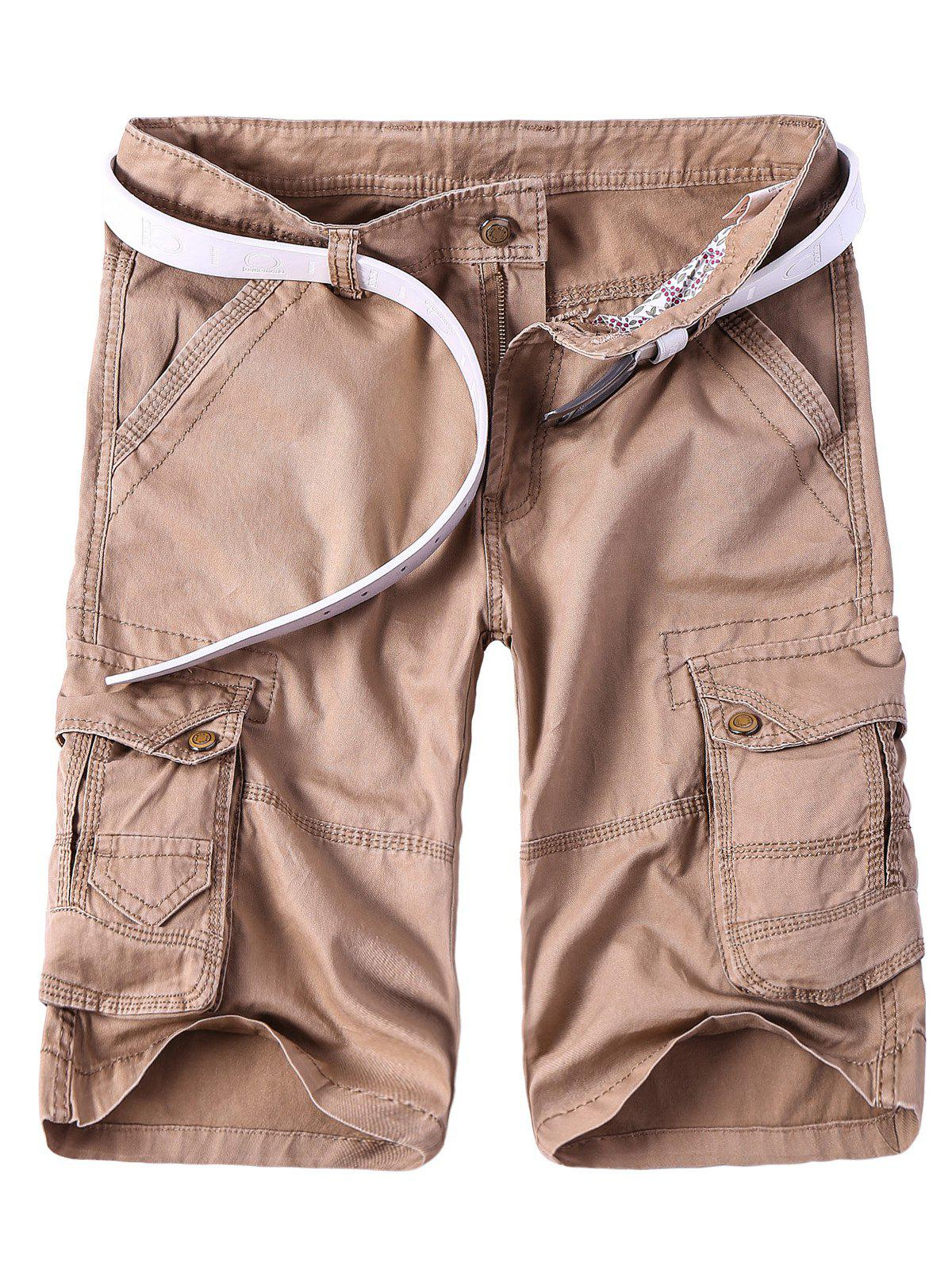 Solid Color Multi-Pocket Straight Leg Zipper Fly Men's Cargo Shorts