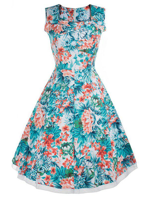 Vintage Style Flower Print Swing Dress - FLORAL 3XL