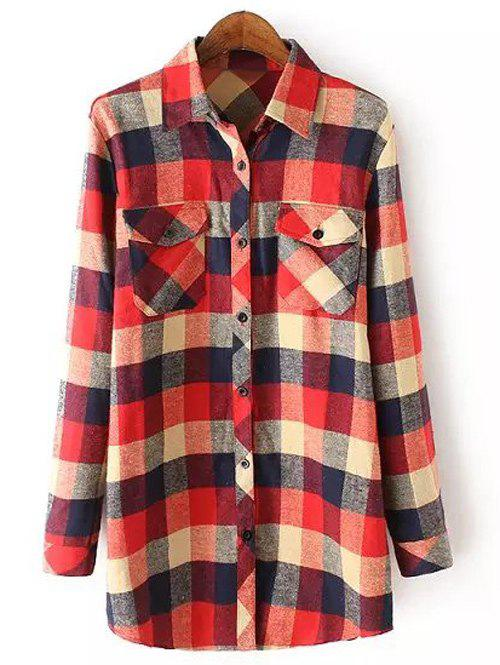 Casual Pocket Tartan Pattern Long Sleeve Shirt - RED M