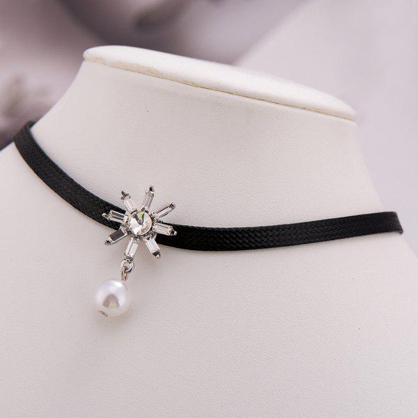 Faux Pearl PU Leather Sunflower Choker - SILVER