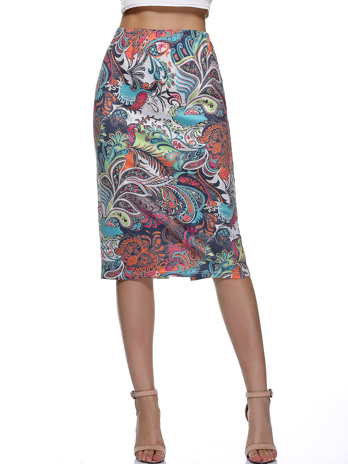 High Waist Back Slit Paisely Print Skirt - COLORMIX XL