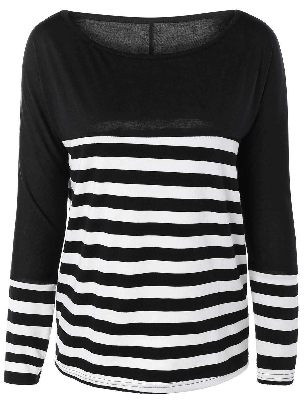 Round Neck Striped Long Sleeve Tee - BLACK XL