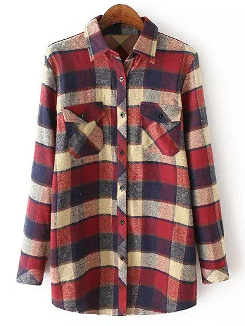 Casual Pocket Tartan Pattern Long Sleeve Shirt - WINE RED L