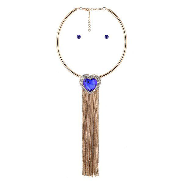 Heart Rhinestone Longline Tassel Torque and Earrings - BLUE
