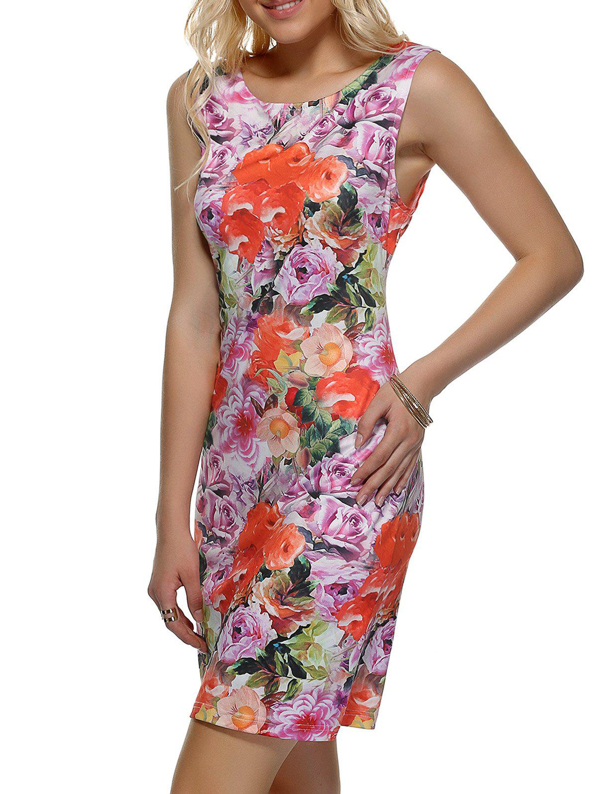 Sleeveless Back Slit Floral Print Dress - COLORMIX XL