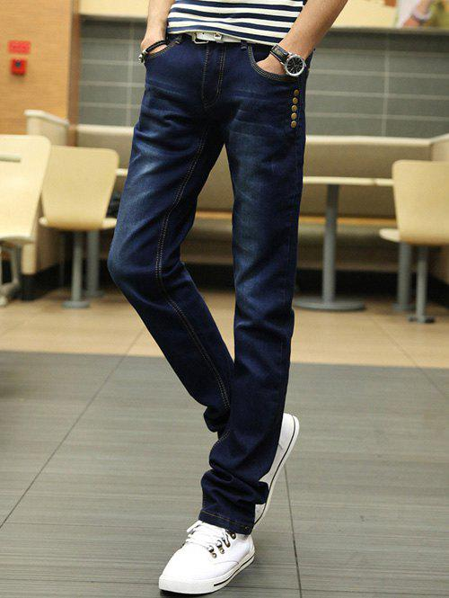 Slim Fit Zipper Fly Buttons Embellished Jeans tapered fit zipper fly basic jeans