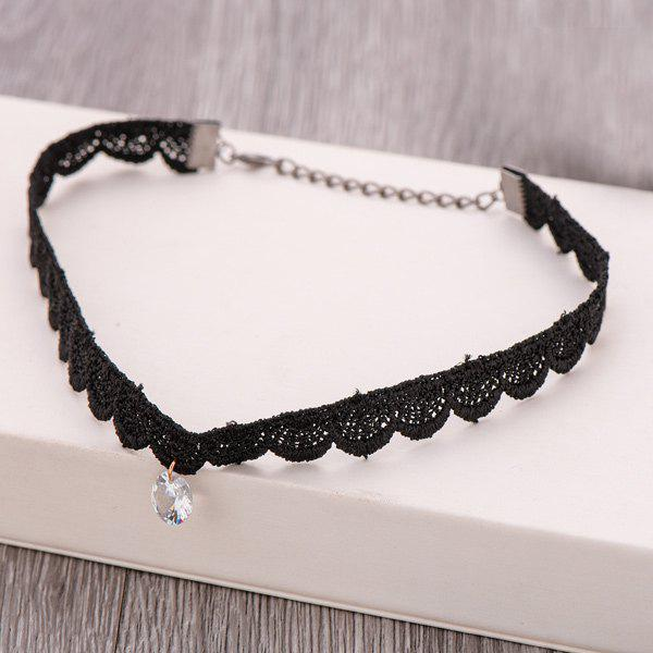 Hollow Out Faux Crystal Choker Necklace - BLACK