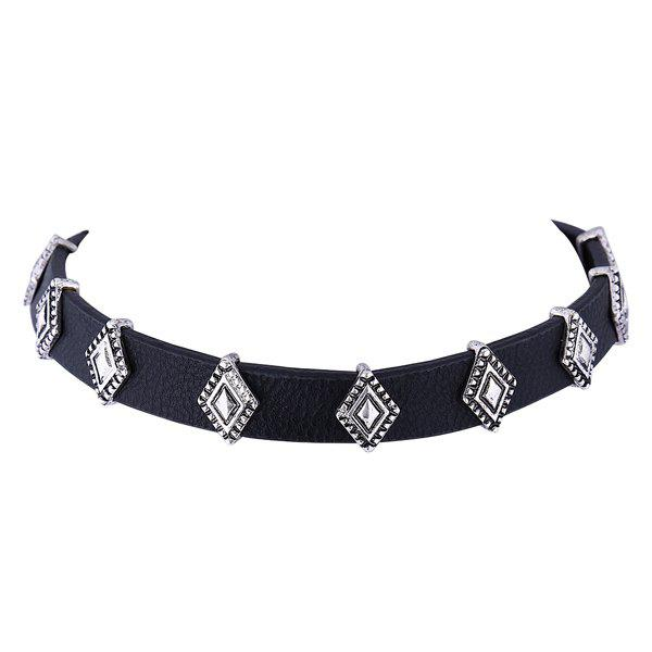 Rhombus Charm Faux Leather Choker - BLACK