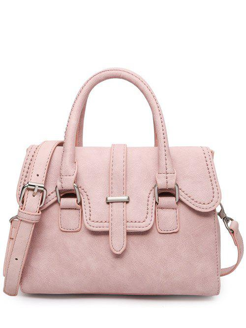 PU Leather Metal Magnetic Closure Tote Bag - PINK