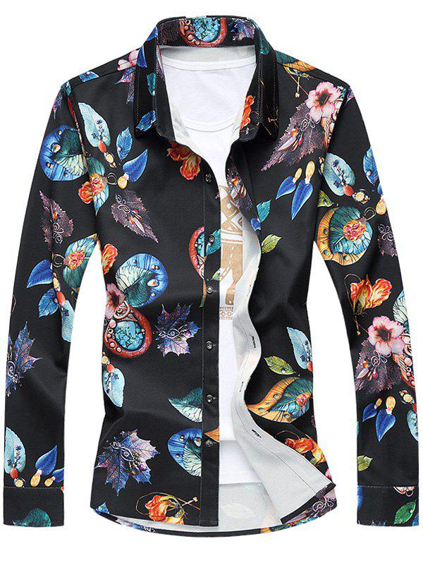 Turn-Down Collar Long Sleeve Plus Size 3D Leaves Print Shirt - BLACK 3XL