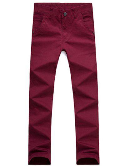 Casual Style Straight Leg Zipper Fly Chino Pants, Wine red