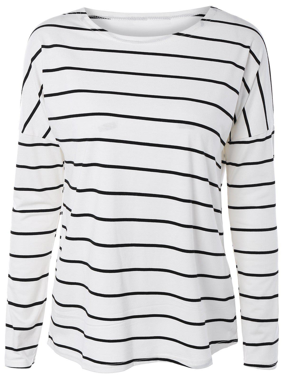 Buy Drop Shoulder Striped Long Sleeve Tee WHITE