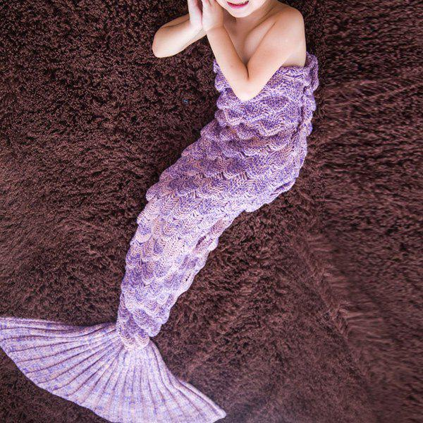 Warmth Comfortable Knitting Sofa Mermaid Blanket For Kids lacy knitting comfortable checkered hollowed blanket for kids