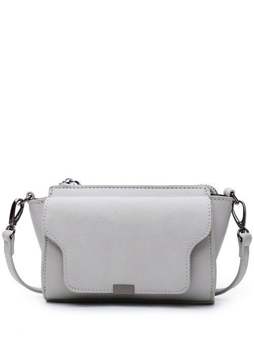 Magnetic Closure PU Leather Zipper Crossbody BagBags<br><br><br>Color: LIGHT GRAY