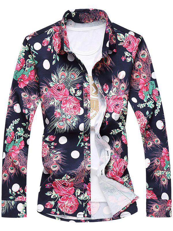 Turn-Down Collar Long Sleeve Plus Size 3D Roses and Peacock Feathers Print Shirt - CADETBLUE 6XL