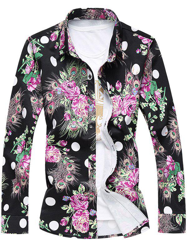 Turn-Down Collar Long Sleeve Plus Size 3D Roses and Peacock Feathers Print Shirt 2015 new arrival oil drum electric fuel pump fuel injection pump electric diesel fuel pump