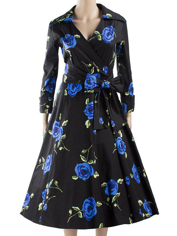 Long Sleeve Wrap Print Swing Dress - BLUE 2XL