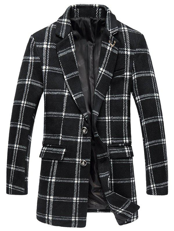 Tartan Plus Size Lapel Single-Breasted Long Sleeve Woolen Coat - WHITE/BLACK 5XL