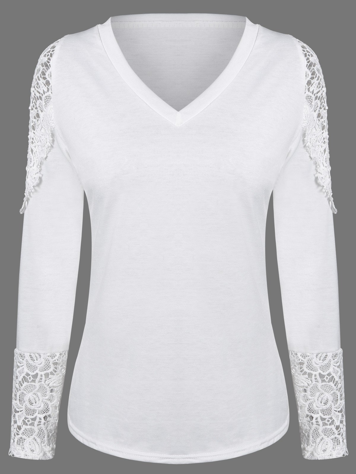 Lace Hollow Out Long Sleeve Tee - WHITE XL