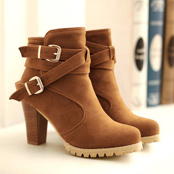 Buckles Chunky Heel Short Boots - BROWN 39