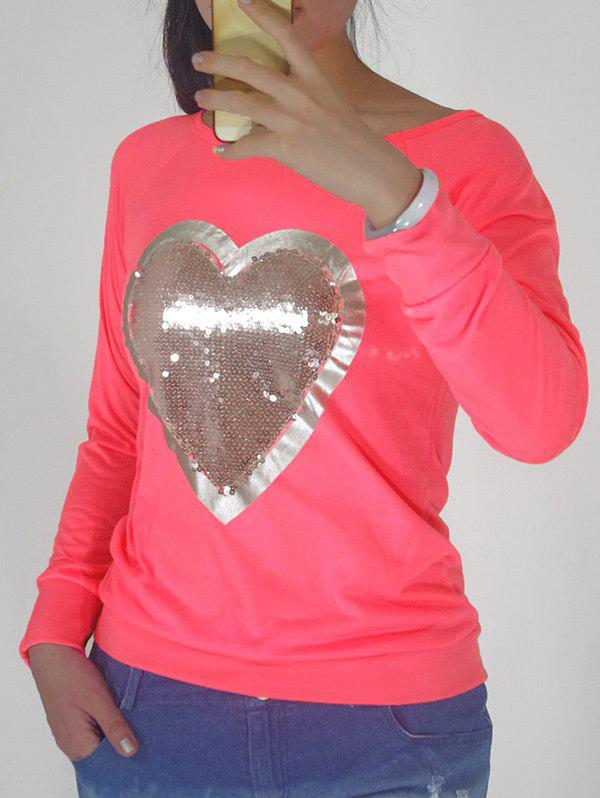 Sequin Embellished Heart Pattern Sweatshirt - WATERMELON RED S