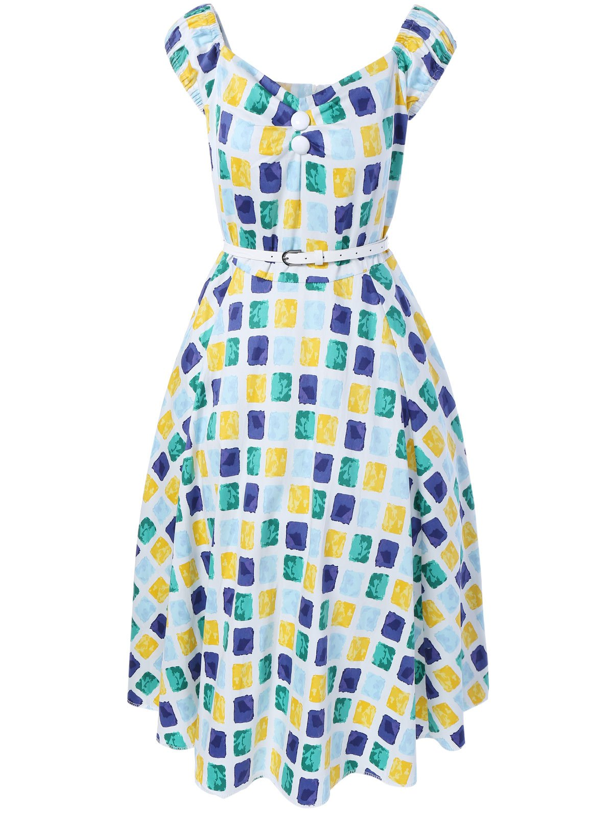 Oversized Colorful Plaid Print Pin Up Skater Dress - BLUE/YELLOW/GREEN L