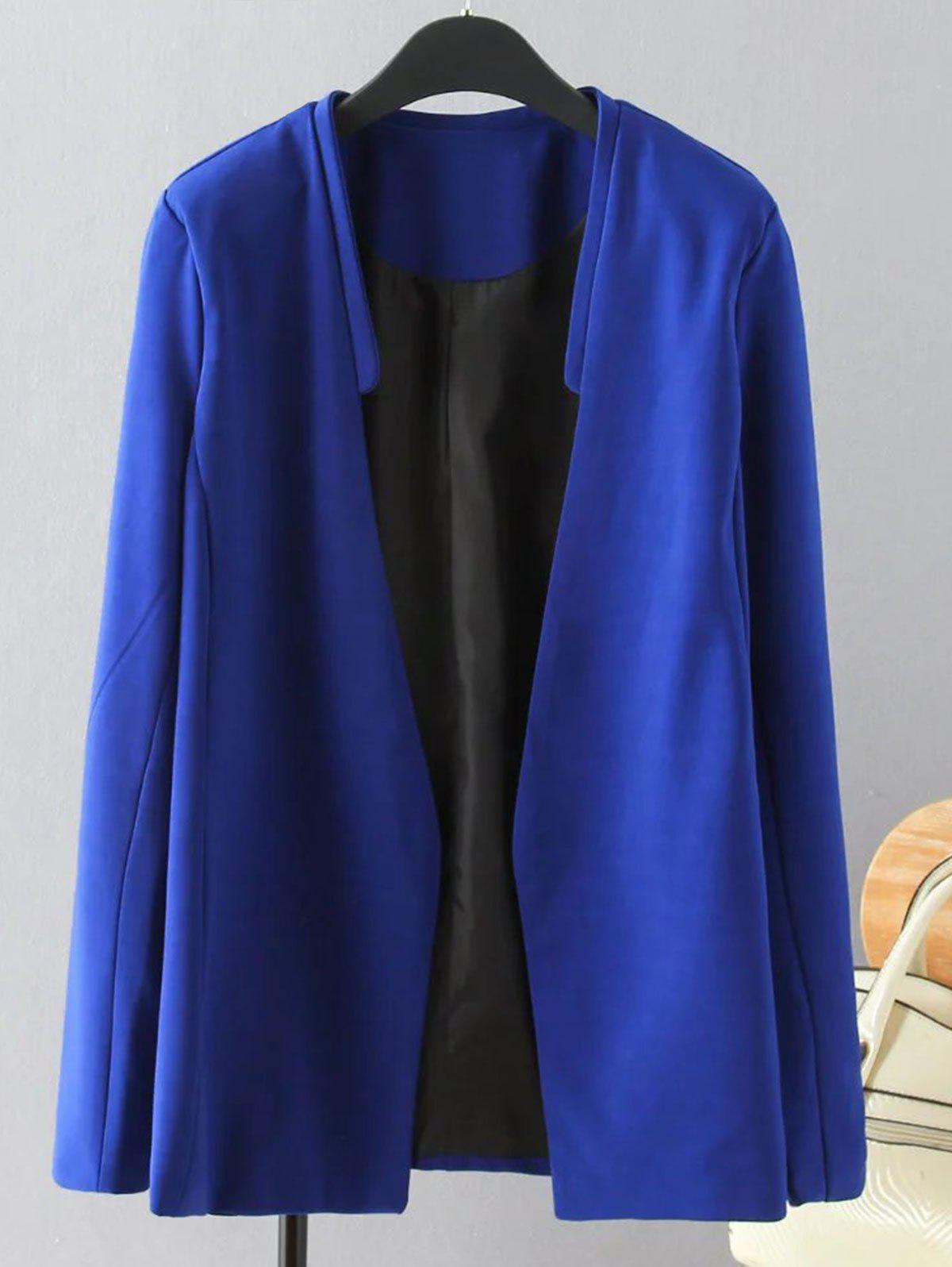 Plus Size Solid Color Loose-Fitting Blazer - BLUE 2XL