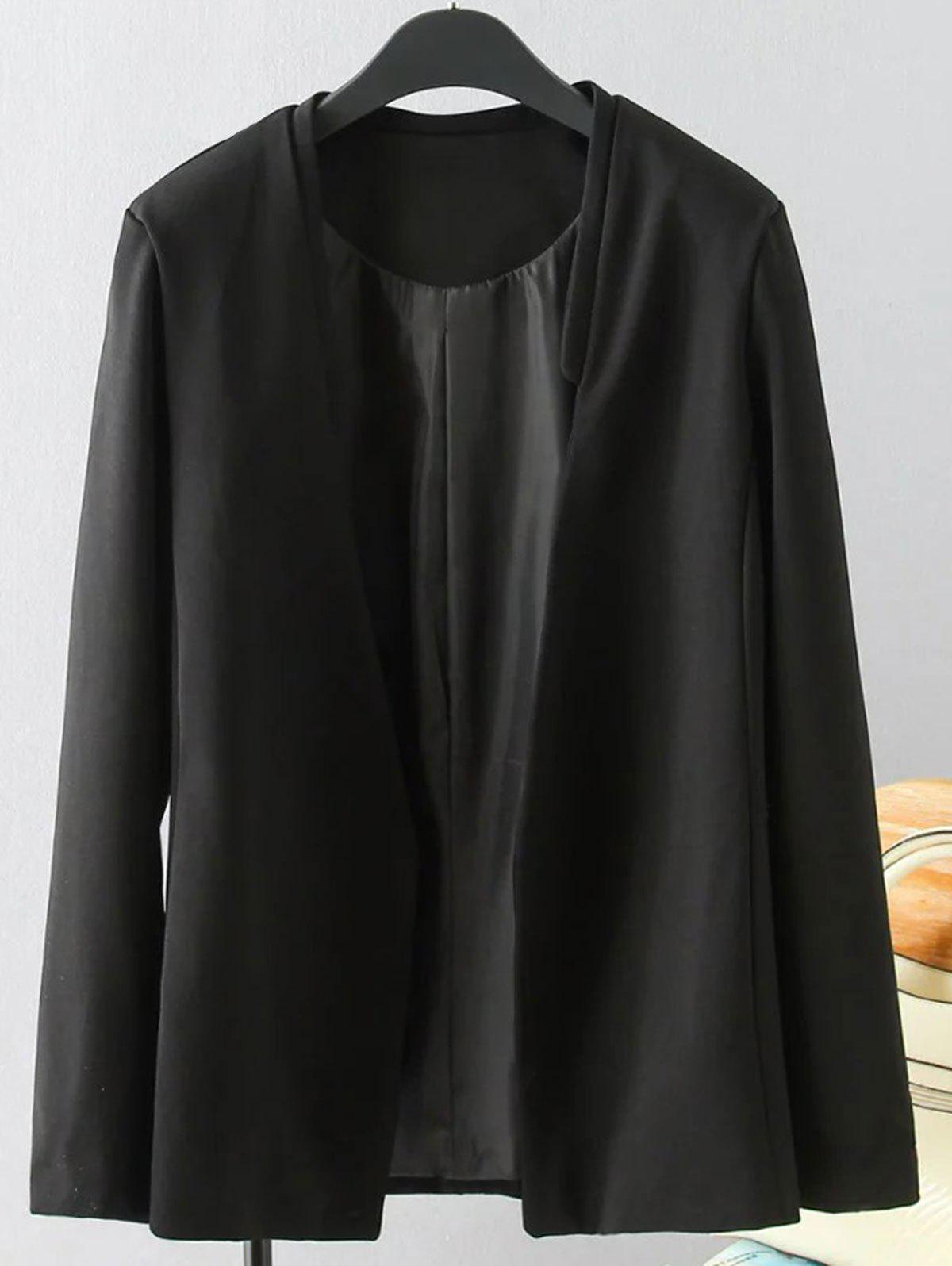 Plus Size Solid Color Loose-Fitting Blazer - BLACK XL