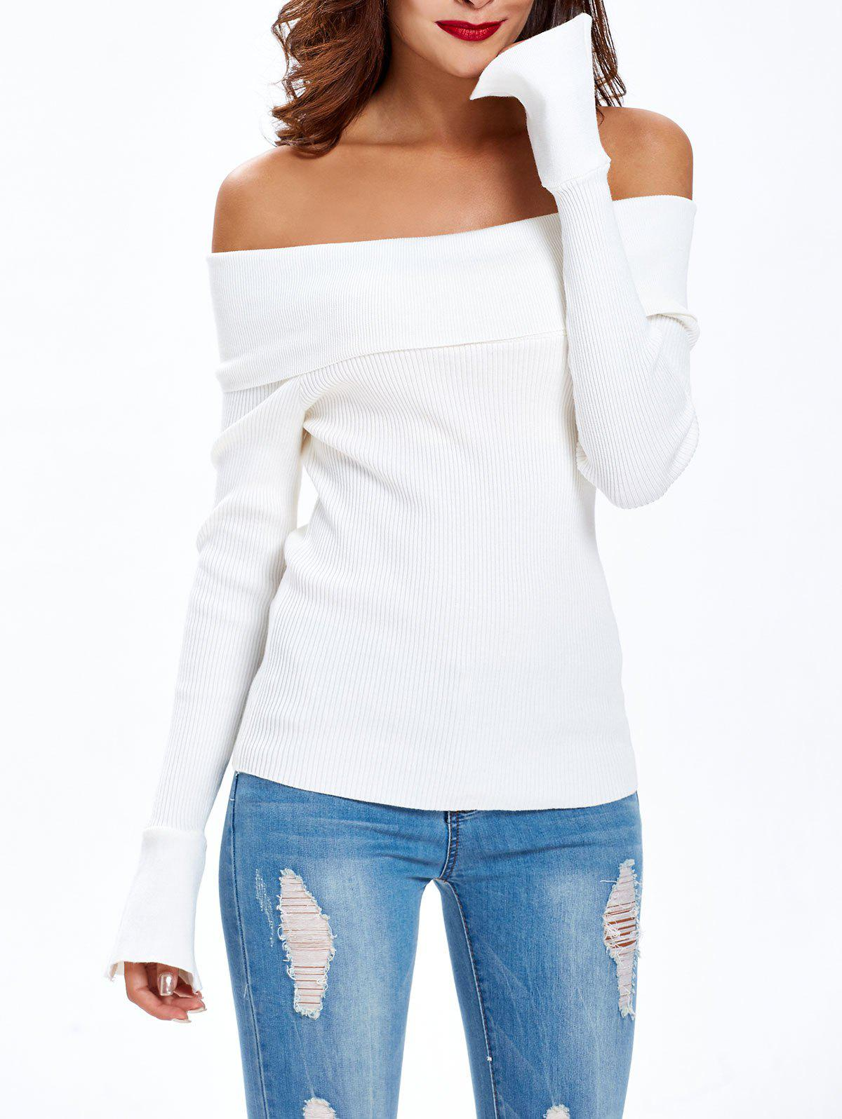 Bell Sleeves Off-The-Shoulder Slimming Knitwear - WHITE ONE SIZE
